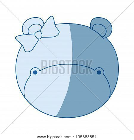 blue color shading silhouette faceless of female hippo animal with bow lace vector illustration