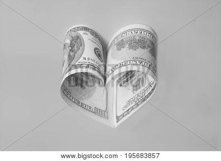 Dollar Us Bills In Heart Shape