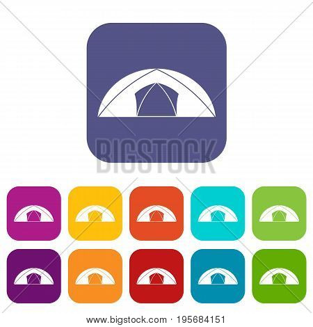 Dome tent for camping icons set vector illustration in flat style In colors red, blue, green and other