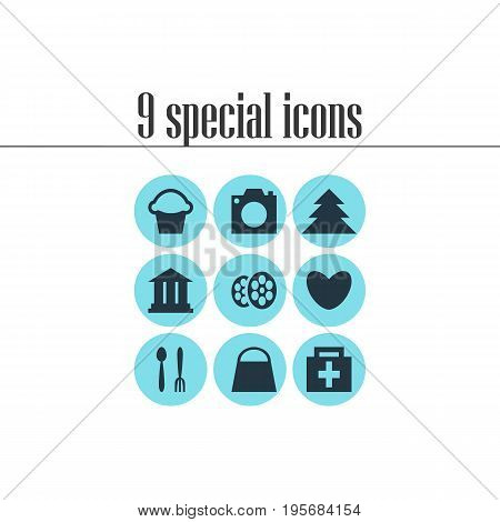 Vector Illustration Of 9 Travel Icons. Editable Pack Of Cafe, Drugstore, Heart And Other Elements.