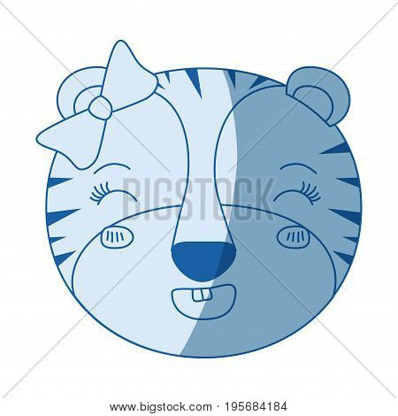 blue color shading silhouette face of female tigress animal adorable expression happiness vector illustration