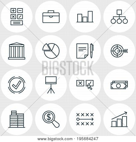 Vector Illustration Of 16 Business Icons. Editable Pack Of Scheme, House, Tactics And Other Elements.