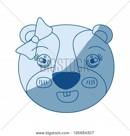 blue color shading silhouette face of female lioness animal adorable expression vector illustration