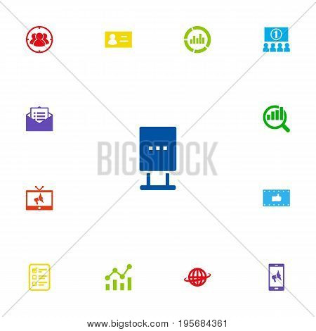 Set Of 13 Commercial Icons Set.Collection Of Id, Statistics, Like And Other Elements.