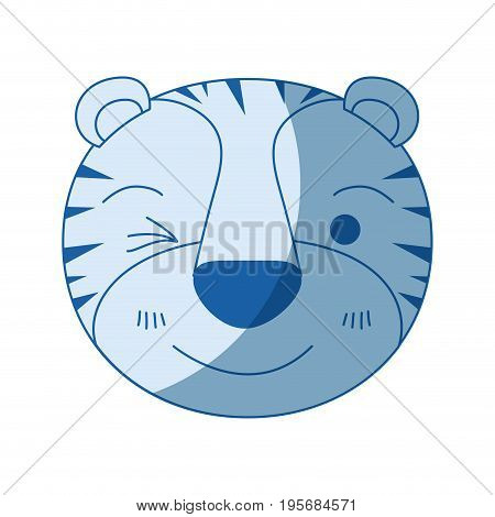 blue color shading silhouette cute face of tiger wink eye expression vector illustration