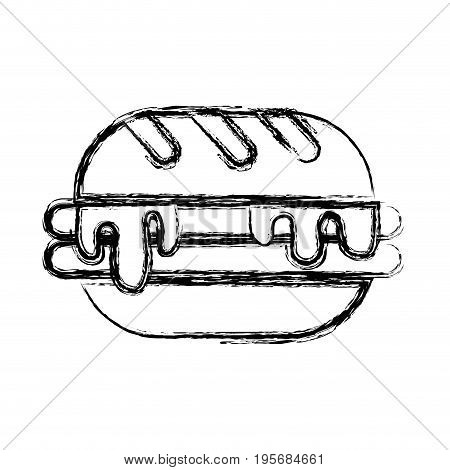 figure delicious hamburger unhealthy fast food vector illustration