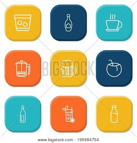 Set Of 9 Drinks Outline Icons Set.Collection Of Champagne, Mojito, Hot Drink And Other Elements.