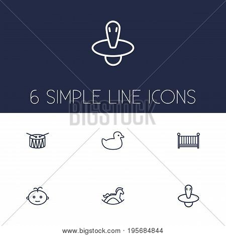 Set Of 6 Baby Outline Icons Set.Collection Of Crib, Rocking Horse, Boy And Other Elements.