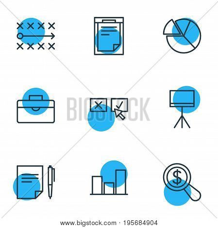 Vector Illustration Of 9 Management Icons. Editable Pack Of Agreement , Board Stand, File Elements.