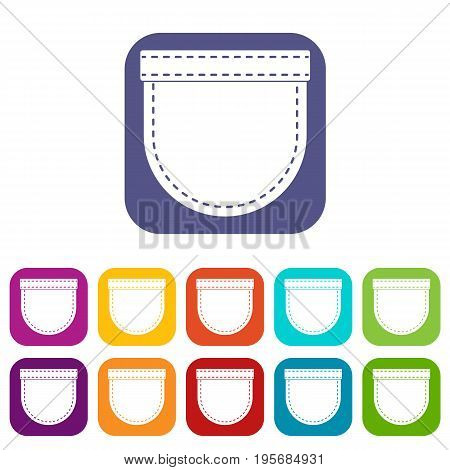 Shirt pocket icons set vector illustration in flat style In colors red, blue, green and other