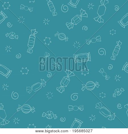Seamless pattern of candy. Vector sweets background. Candy day. A light outline on a cartoon blue background. Seamless pattern with outline icons on a theme candy and sweets.