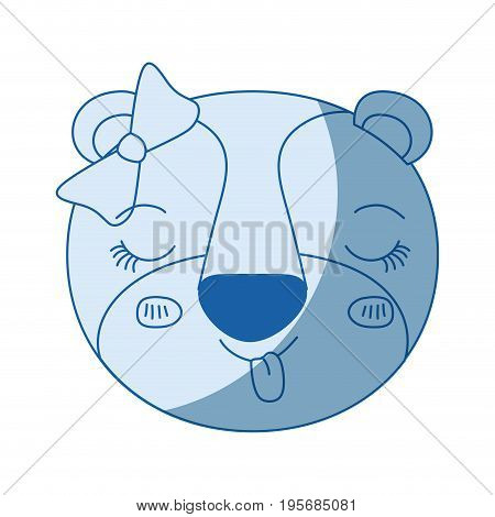 blue color shading silhouette face of female lioness animal sticking out tongue expression with bow lace vector illustration
