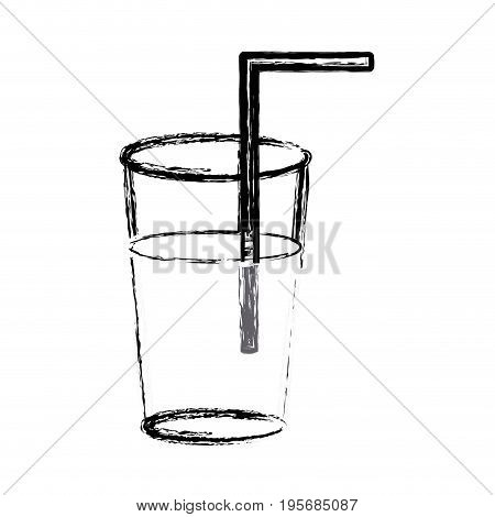 figure refreshment in the bottle glass to drink vectorillustration