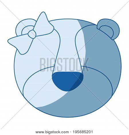 blue color shading silhouette faceless of female lioness animal with bow lace vector illustration