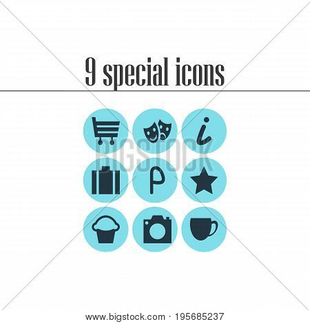 Vector Illustration Of 9 Map Icons. Editable Pack Of Briefcase, Shopping Cart, Photo Device And Other Elements.