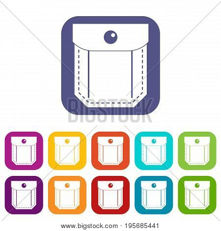 Pocket with valve and button icons set vector illustration in flat style In colors red, blue, green and other