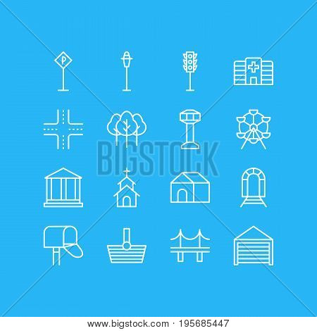 Vector Illustration Of 16 Public Icons. Editable Pack Of Basket, Building, Semaphore And Other Elements.