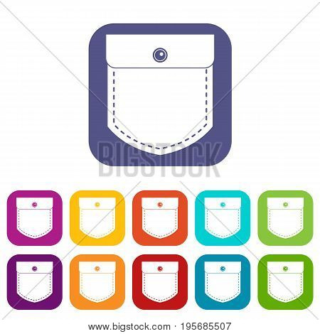 Black jeans pocket icons set vector illustration in flat style In colors red, blue, green and other