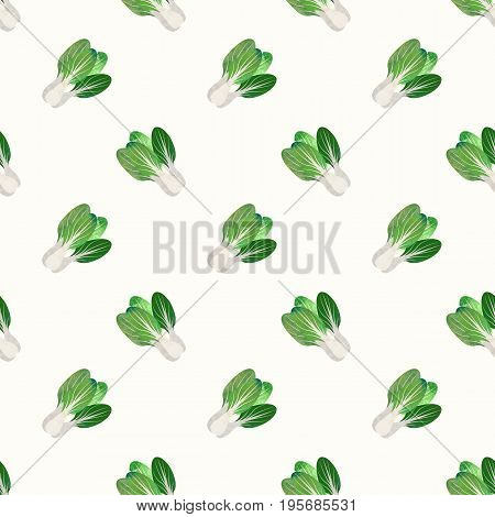 Seamless Background Image Colorful Watercolor Texture Vegetable Food Ingredient Bok Choy