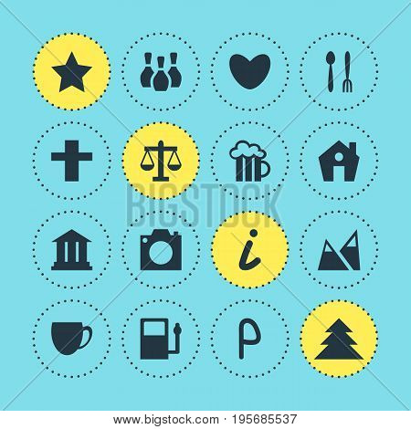 Vector Illustration Of 16 Check-In Icons. Editable Pack Of Beer Mug, Cross, Scales And Other Elements.