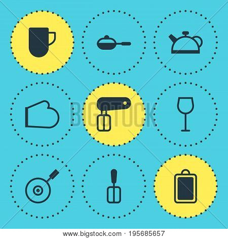 Vector Illustration Of 9 Kitchenware Icons. Editable Pack Of Wine, Pan, Oven Mitts And Other Elements.