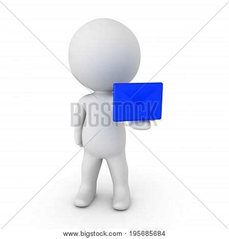 3D Character Handing Out Blue E-mail Envelope