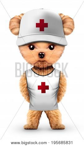 Funny animal wear lifeguard t-shirt and cap. Concept summer holidays, travel vacation concept. Realistic 3D illustration.