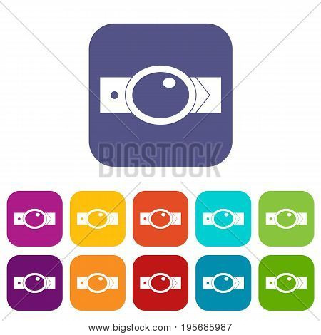 Belt with oval shaped buckle icons set vector illustration in flat style In colors red, blue, green and other