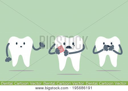 dental cartoon vector - decayed tooth - teeth be pained because toothache