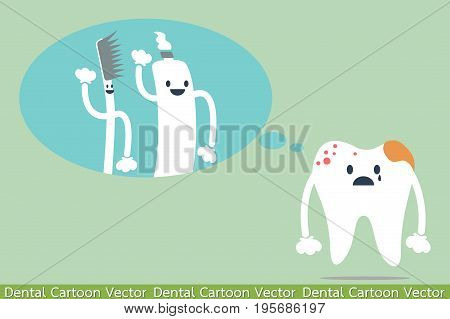 dental cartoon vector - decayed tooth - teeth miss to friend (toothbrush and toothpaste)