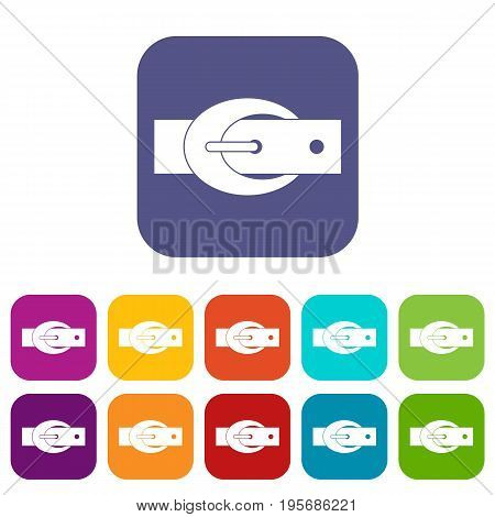 Oval belt buckle icons set vector illustration in flat style In colors red, blue, green and other