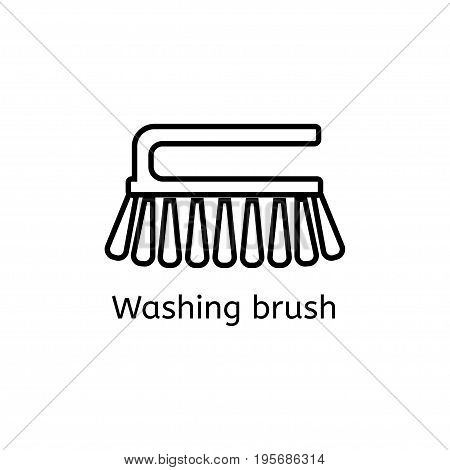 Cleaning brush simple line icon. Washing brush thin linear signs. Toilet cleaning simple concept for websites infographic mobile app.