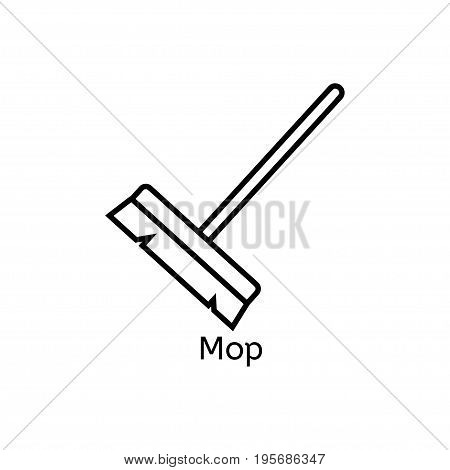 Mop simple line icon. Floor cleaning thin linear signs. Cleaning simple concept for websites infographic mobile app.