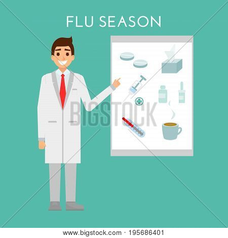 Doctor presents flu and cold season. Medical people health care character concept design. Vector flat design. Pharmacist show treatment items: syringe and vaccination, antibiotics, pills