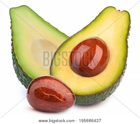 Group of two avocado halves slices with oily stone isolated on white, with clipping path