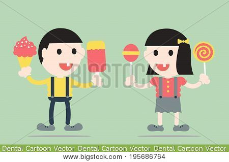 dental cartoon vector - boy and girl are decayed tooth by sweets and ice cream