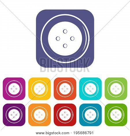 Button for clothing icons set vector illustration in flat style In colors red, blue, green and other