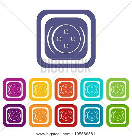 Clothing square button icons set vector illustration in flat style In colors red, blue, green and other