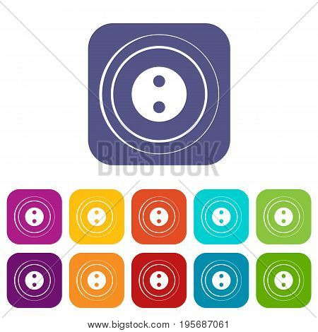 Button icons set vector illustration in flat style In colors red, blue, green and other