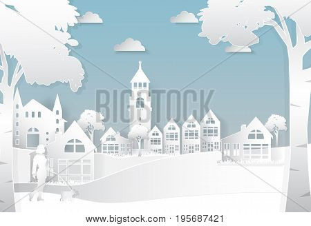 Happiness lifestyle peaceful in the city background paper art style illustration