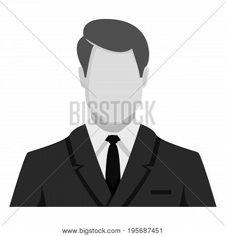 Vector Monochrome Flat Icon - Businessman In Suit