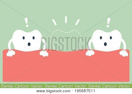 dental cartoon vector - missing tooth or lose tooth