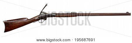 Vintage Classic Antique Civil War Single Shot Wooden Rifle Gun with open breach firing Cartridge ammunition