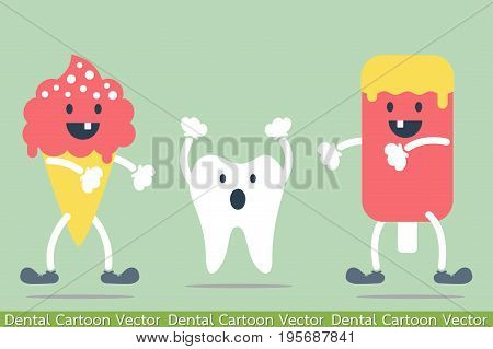 dental cartoon vector - decayed tooth - teeth problem from ice cream