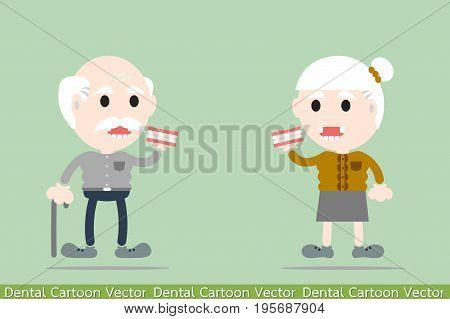 dental cartoon vector - senior man and senior woman are holding denture
