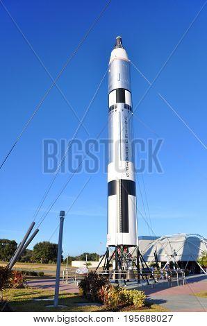 FLORIDA, USA - DEC 20, 2010: Rocket Garden in Kennedy Space Center Visitor Complex in Cape Canaveral, Florida, USA.