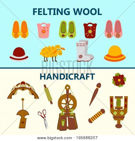 Creative handicraft banner. Vector illustration of wool products and objects for spinning. poster