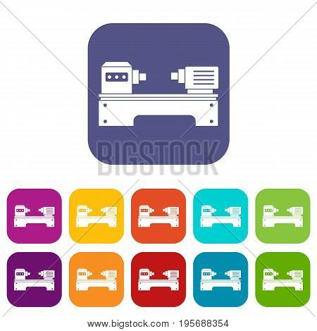 Lathe machine icons set vector illustration in flat style In colors red, blue, green and other