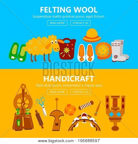 Handmade banners with instruments for felting. Vector illustration of objects for handicraft.