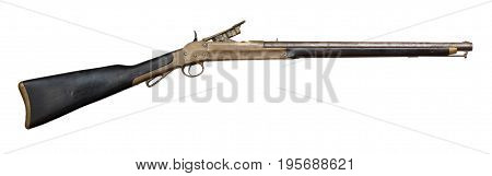 trap door style single shot rifle, firing cartridge ammunition, and with a short carbine barrel, Classic Vintage Civil war Antique Gun